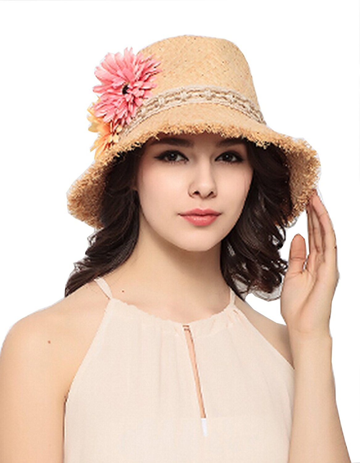 Km Lady High-end Fashion Raffia Hand-made Flower Modelling Beach Straw Sunhat