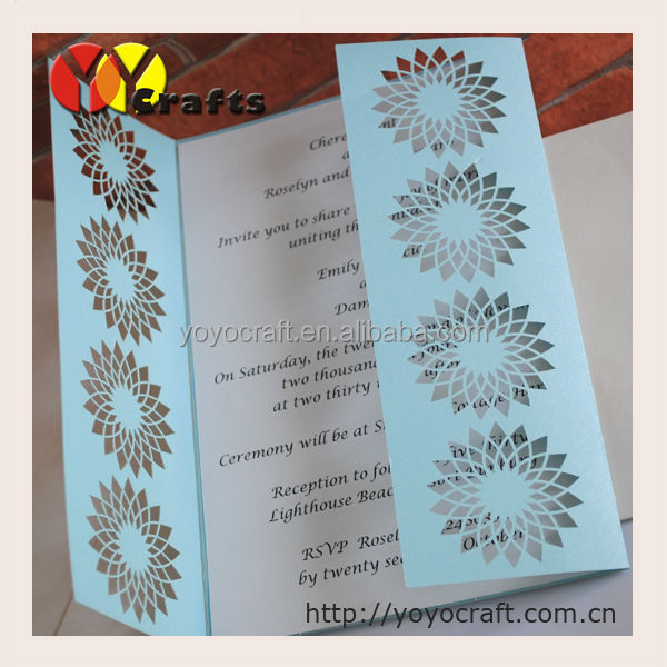 2014 New Design Beautiful Blue Flowers Arabic Wedding Invitations ...