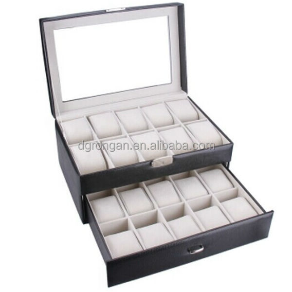 watch box case large 20 mens chocolate leather display glass watch box case large 20 mens chocolate leather display glass jewelry case organizer