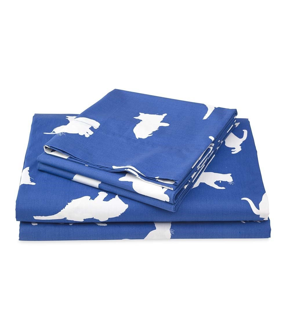 Plow & Hearth King Cantnap Cat Print Cotton Percale Sheet Set