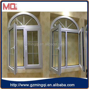 Upvc inward opening french casement window with arched top for Upvc french doors inward opening