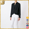 Fashion ladies formal new models black silk draped blouse for women