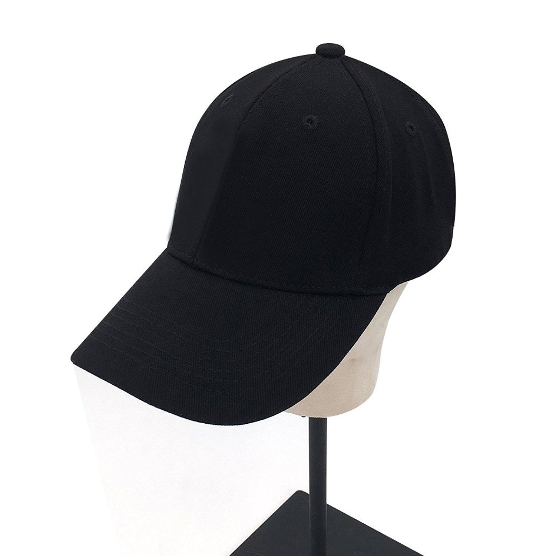 83b29128a4d Get Quotations · Plain Cotton Baseball Cap Black Hat with Flex fit elastic  band
