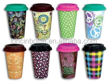 300ml Ceramic Double Wall Coffee Cups 8 Oz Travel Mugs