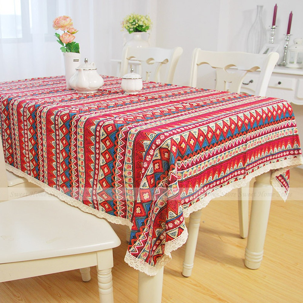yazi Bohemian Lace Square 90x90cm Tablecloth Wedding Banquet Party Home Decor Table Cover