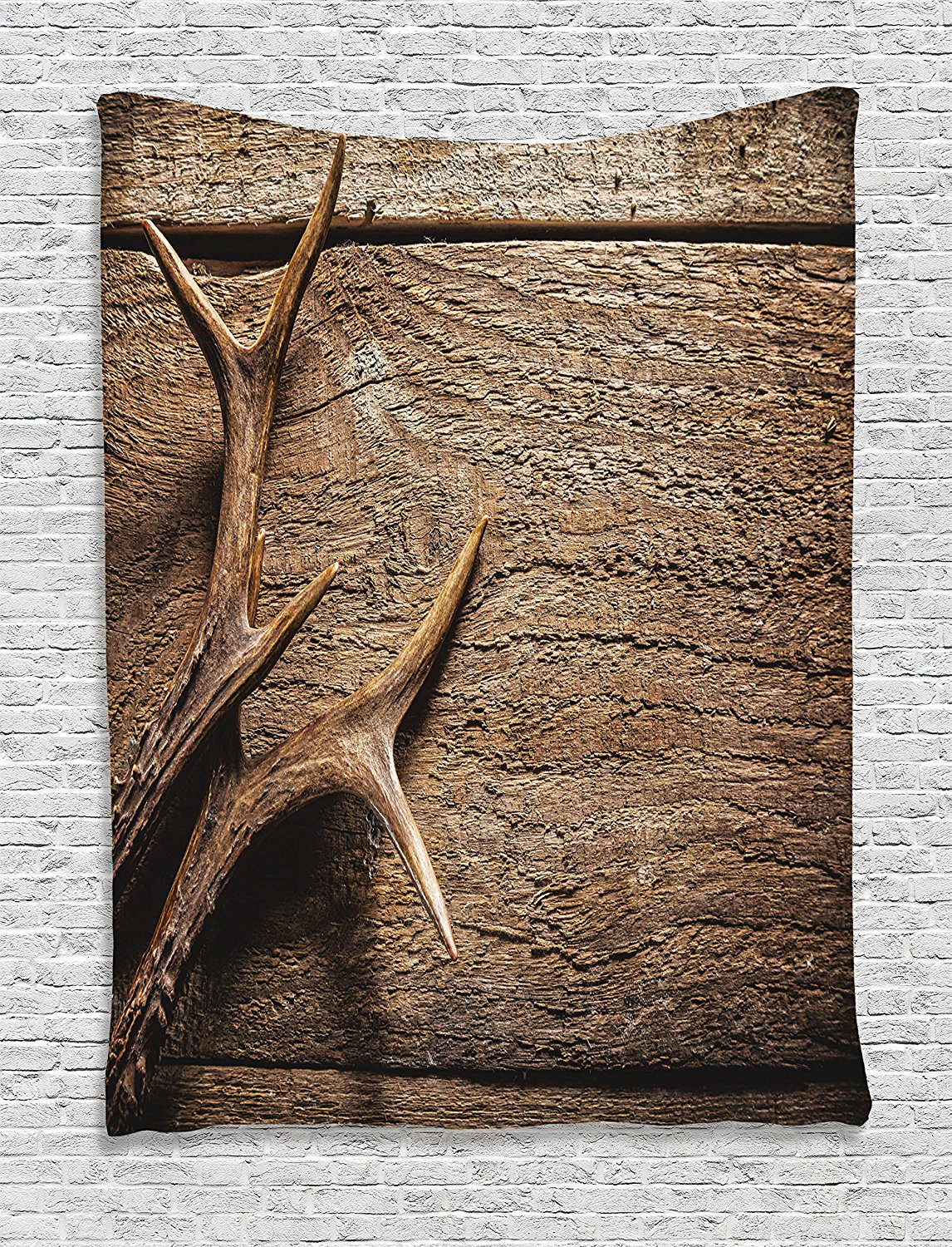Antlers Decor Tapestry By Ambesonne, Deer Antlers On Wood Table Rustic Texture Surface Hunting Season Decorating, Bedroom Living Room Dorm Decor, 40Wx60L Inches