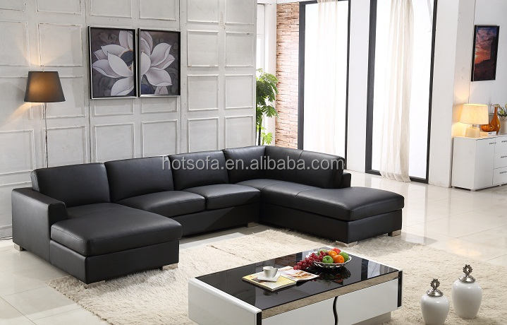Promotional Large Leather Sofa U Shape Black T95