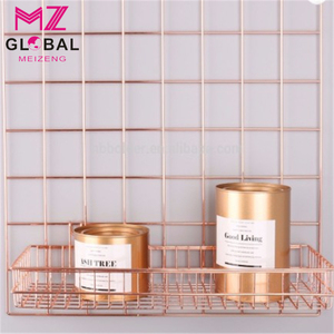 Wire Metal Storage Shelf Wall Mount Hanging Organizer gold wire basket