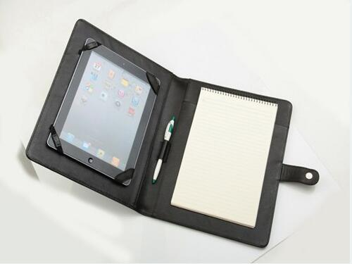 High quality PU leather writing pad with ipad holder