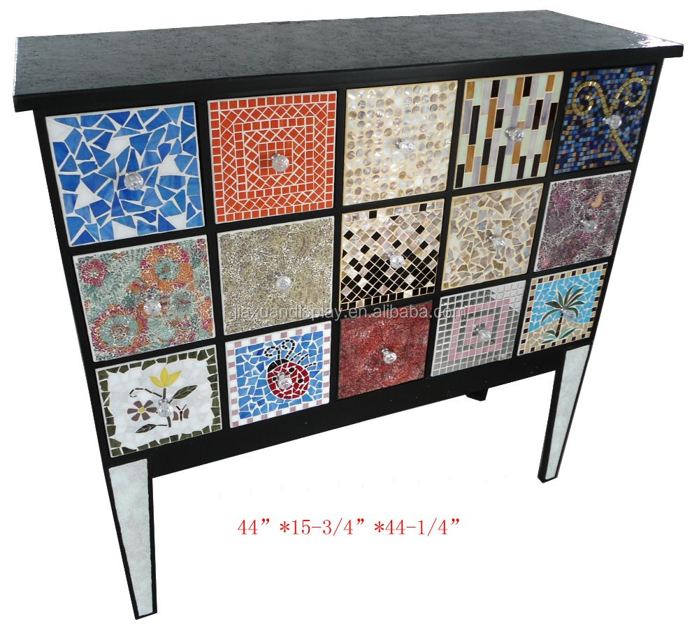 Solid wood antique mosaic bedroom set wardrobe dresser with crack finish on top and leg