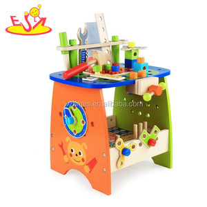 Wholesale hottest diy assemble robot blocks toy wooden tools bench toy for kids' hand skill training W03D091