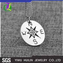 JTBC0074 Yiwu Huilin Jewelry Compass N S W E Letter Creative Pendant Zinc Alloy Round Tag Necklace