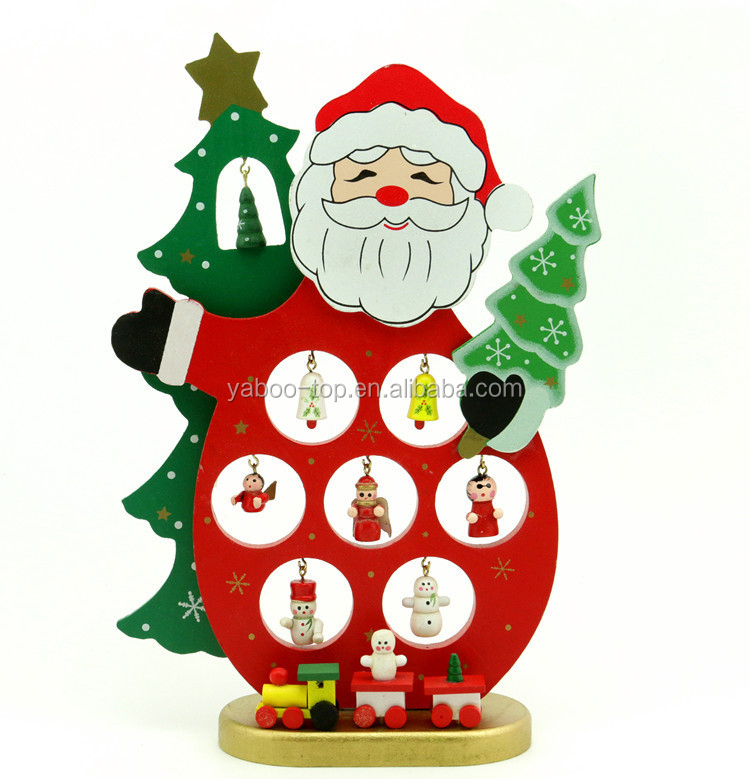 Santa Claus Christmas Table Decor Wooden Christmas Tree Snowman Pendant Ornament