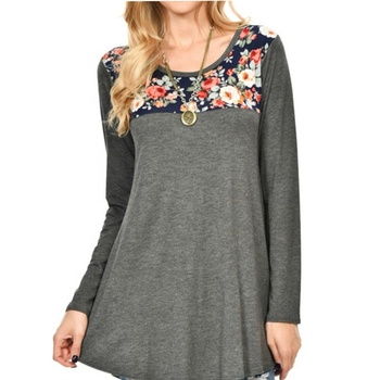 New Arrival Women Print Top Long-sleeve Loose Floral Tunic
