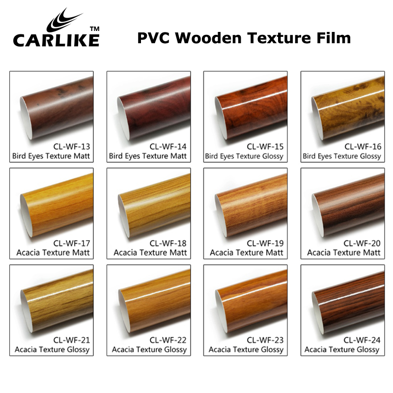 CARLIKE Teak Wooden Texture Car Body Interior Decoration Sticker Film