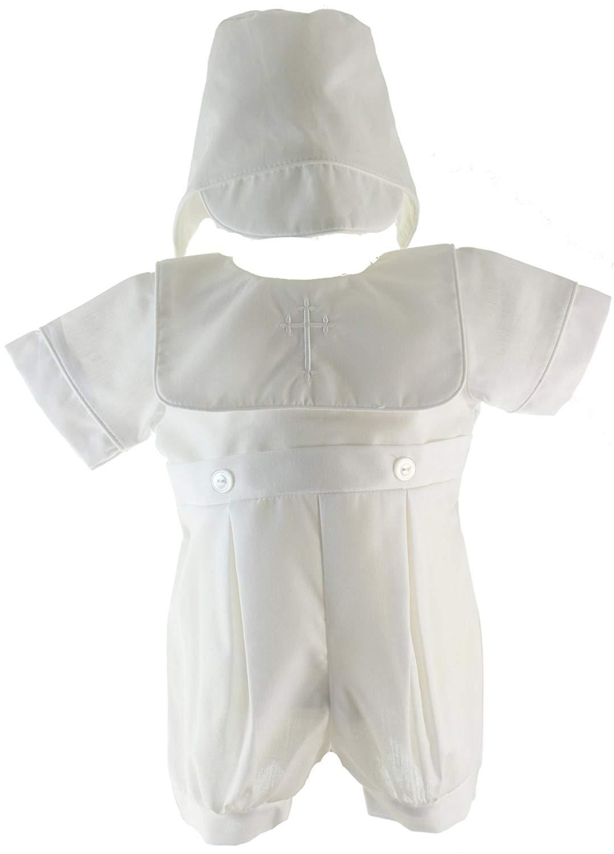 7814388d2 Get Quotations · Boys White Christening Outfit Cross Collar & Bonnet Set