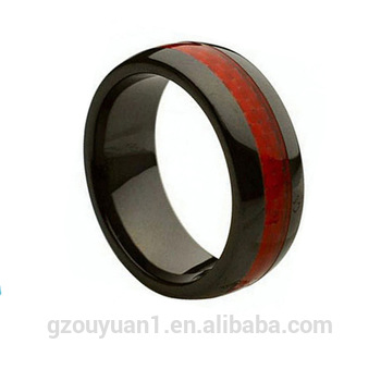 8mm Ceramic Ring Men Women Wedding Band With Red Carbon Fiber Inlay Rings