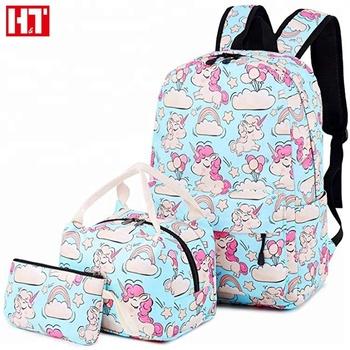 7b0354b95a 2018 Newest Unicorn School Bag Set Backpack For Children Kids With Lunch Bag  Pen Bag