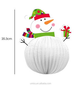 Umiss 3pcs 3D Chart Paper Snowman Lantern Wall Festival Hanging Decorations For Christmas