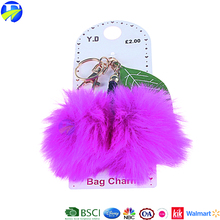 FJ brand hot selling children lovely fur manufacturers in china custom key chain 3d pom pom keychain