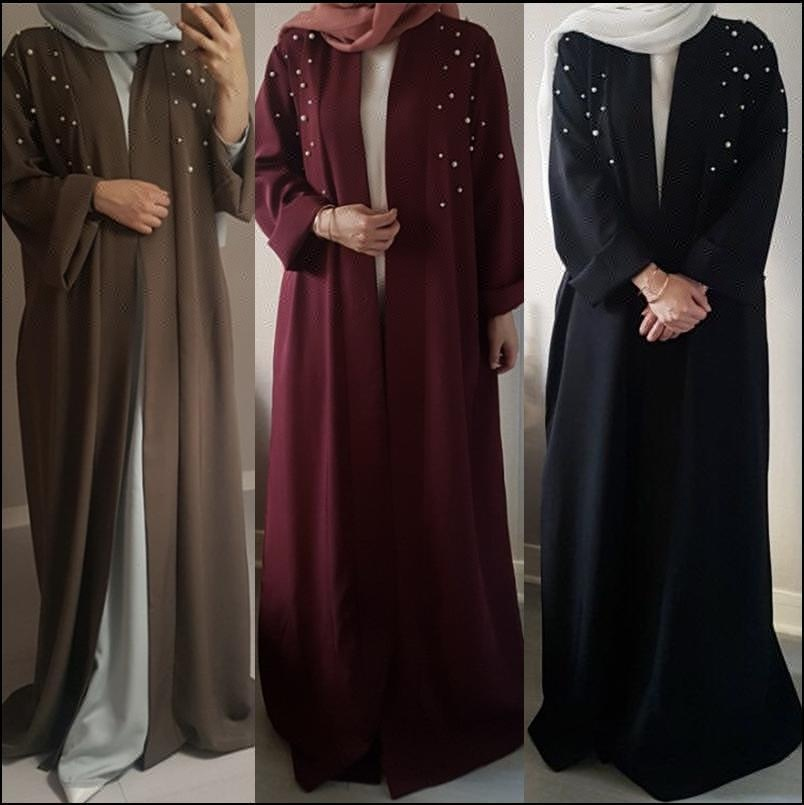 6 colors Latest Designs Pearl Front Open Abaya New Model Abaya Kimono In Dubai