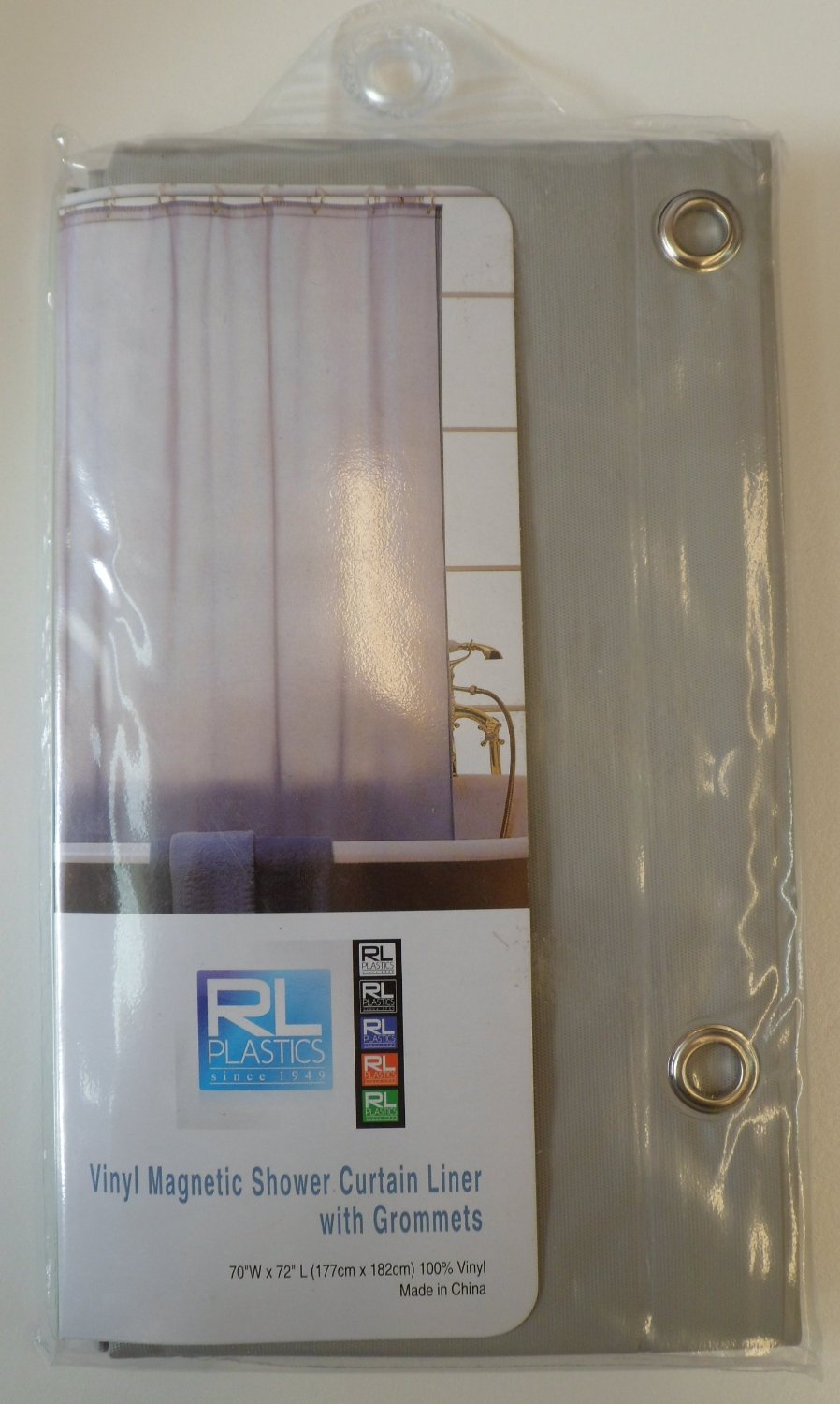 "RL Plastics 100% Vinyl Grey Magnetic Shower Curtain Liner with Grommets, Mildew and Water Resistant Standard Size 70"" X 72"""