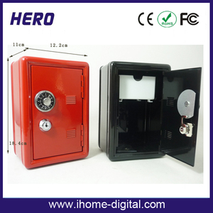 key modern mini fireproof safe custom logo wooden saving money box