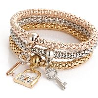Fashion jewelry popcorn chain 3 pieces set lock key pendent bracelet charmful elastic bracelet