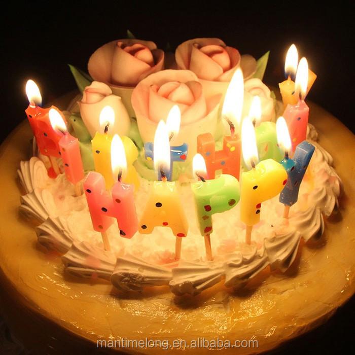Korean Version Of Happy Birthday Cake Candle Cute Dot Alphabet Baked