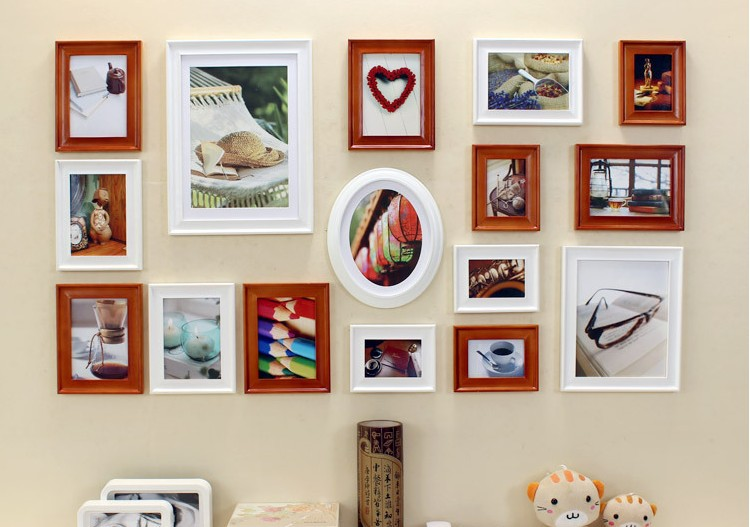 Handmade Cheap Mix-Color Hanging Wood Frames Hook Wall for home decoration