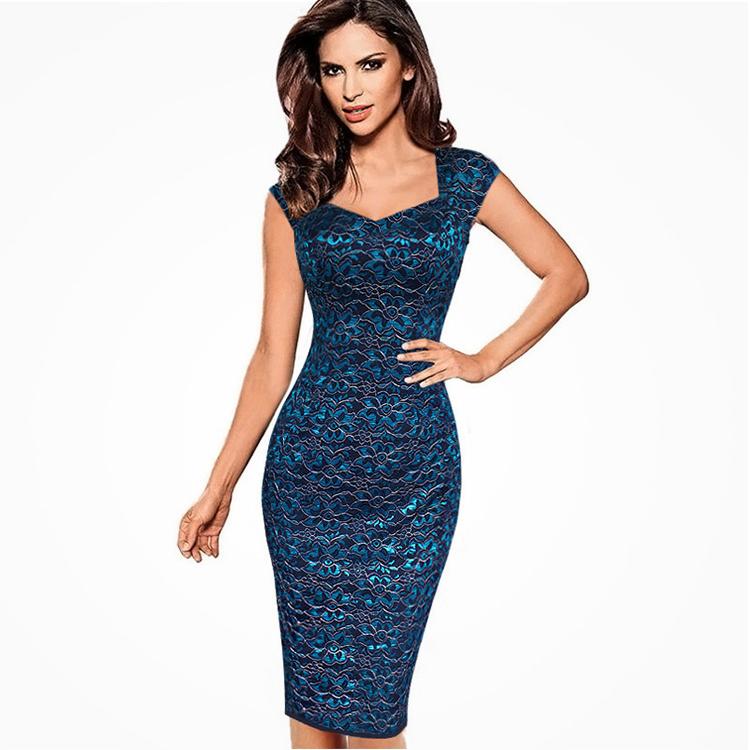 新モデルフォーマル V ネックレースプリントバッグヒップスパンコールドレス膝丈スリム女性パーティーイブニングドレス