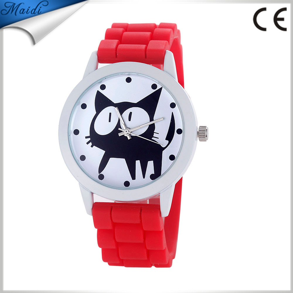 2016 Silicone Fashion Cute watches Women and Children black cat watches Casual quartz wristWatches GW036