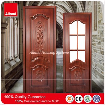 Teak Wood Color Hand Carved Interior Solid Mahogany Wood Doors For