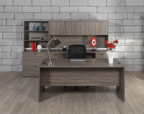 office desk walnut. elegant executive office desk set w wall units in urban walnut