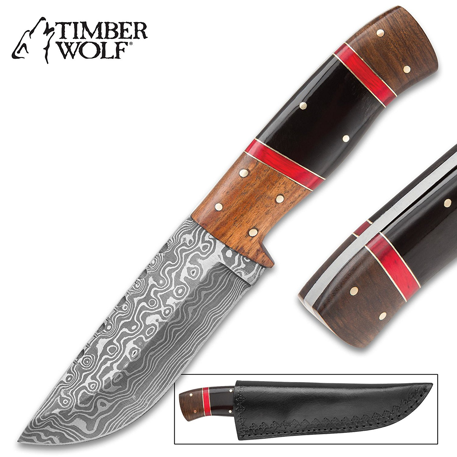 Timber Wolf Syrian Dynasty Fixed Blade Knife – Damascus Steel Blade, Genuine Wood and Bone Handle, Brass Spacers – Length 9 1/4""