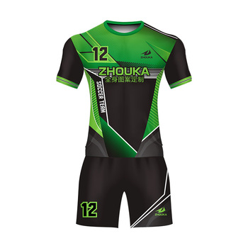 924131e0852 Low MOQ New Model Football Jersey Cheap Youth Custom Short Sleeve  Sublimation Printing Green And Black