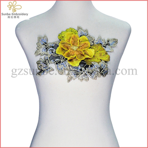Yellow 3D Floral Embroidery Lace Applique Cord Patches Trimming Motif Venise Embossed Sewing Accessories can be customized