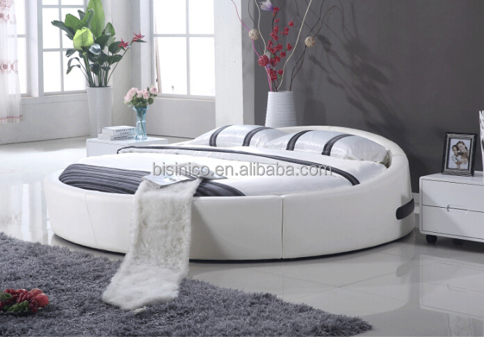 Bisini King Size Round Bed Leather Round Bed Double Round