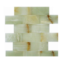 Custom size ming green and white thassos marble mosaic tile