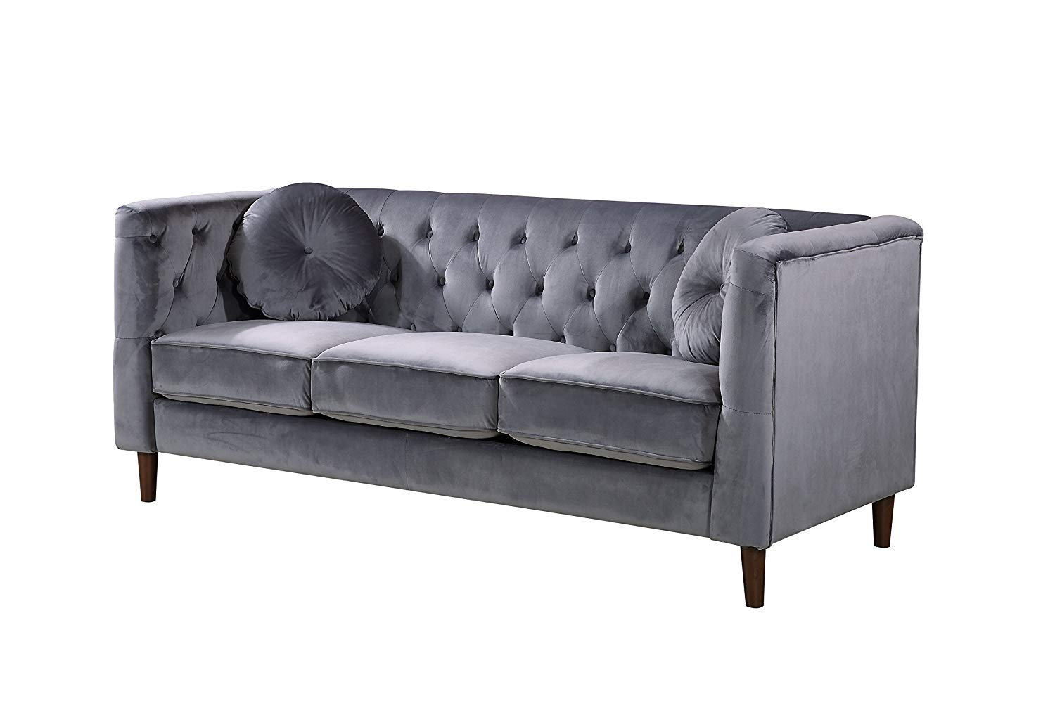 Container Furniture Direct S5374-S Kitts Mid-Century Classic Chesterfield Living Room Sofa, Gray