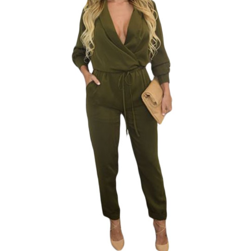 49273420b25 Snap Casual Army Green V Neck Sleeveless Lace Up Short Jumpsuits ...