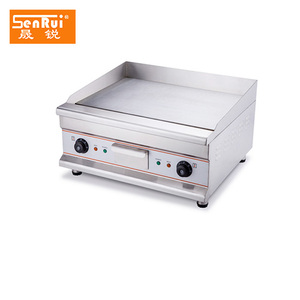Restaurant equipment Stainless steel all flat non-stick cast iron electric bbq griddle machine