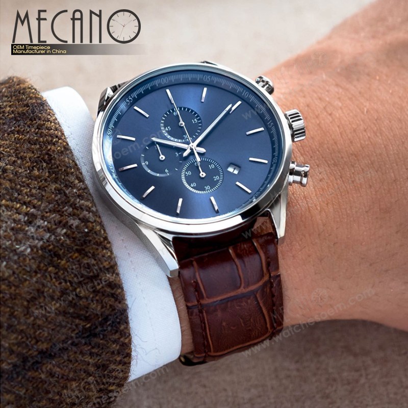 China Supplier Custom Watch Factory Japan Movt Stainless Steel Back Chronograph Men Wrist Watch
