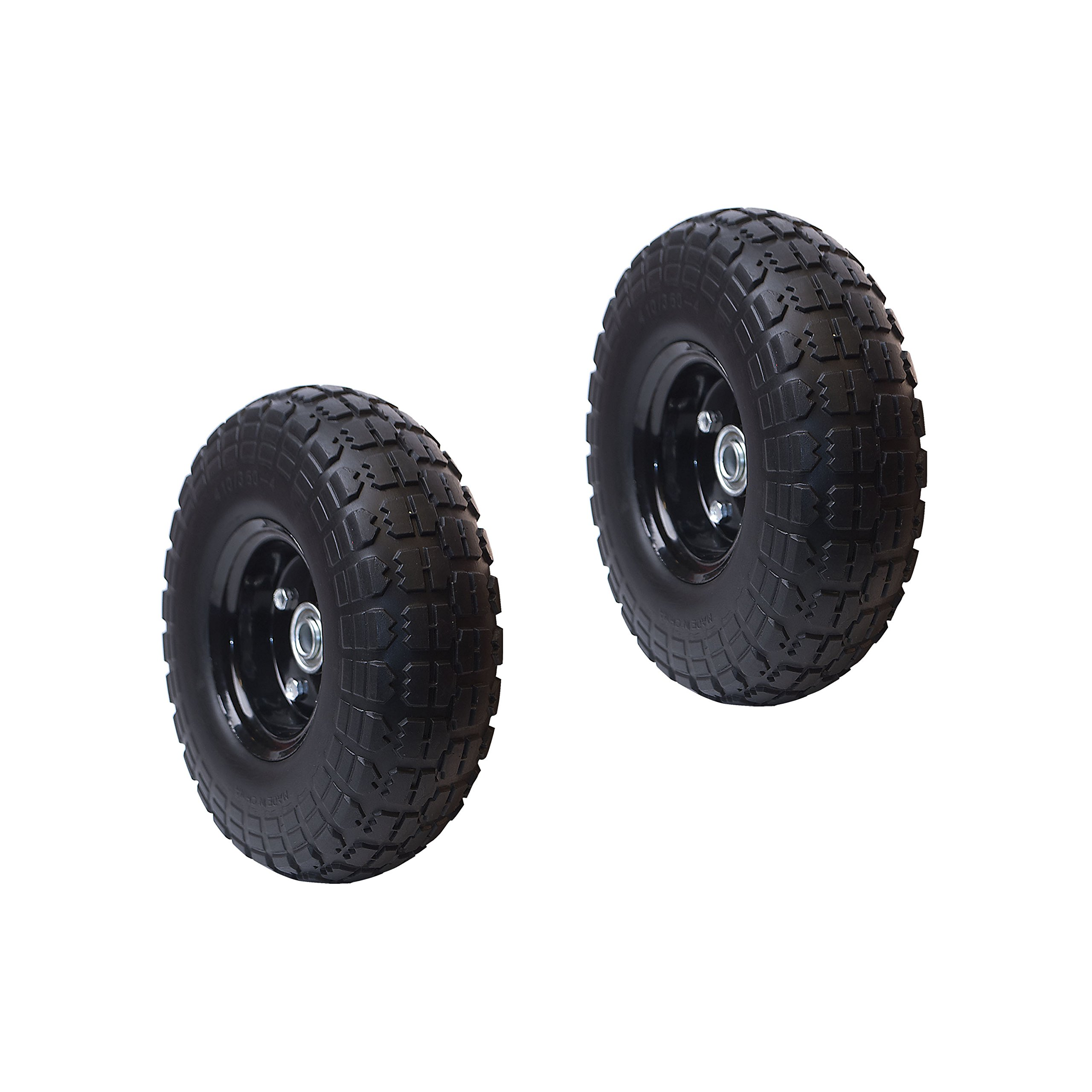 ALEKO 2WNF10 Anti Flat Replacement Turf Wheels for Wheelbarrow 10 Inch No Flat Tires, Set of 2, Black