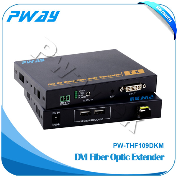 Transmits DVI video signals up to 10km over one fiber optic cable fiber dvi transmitter with kvm