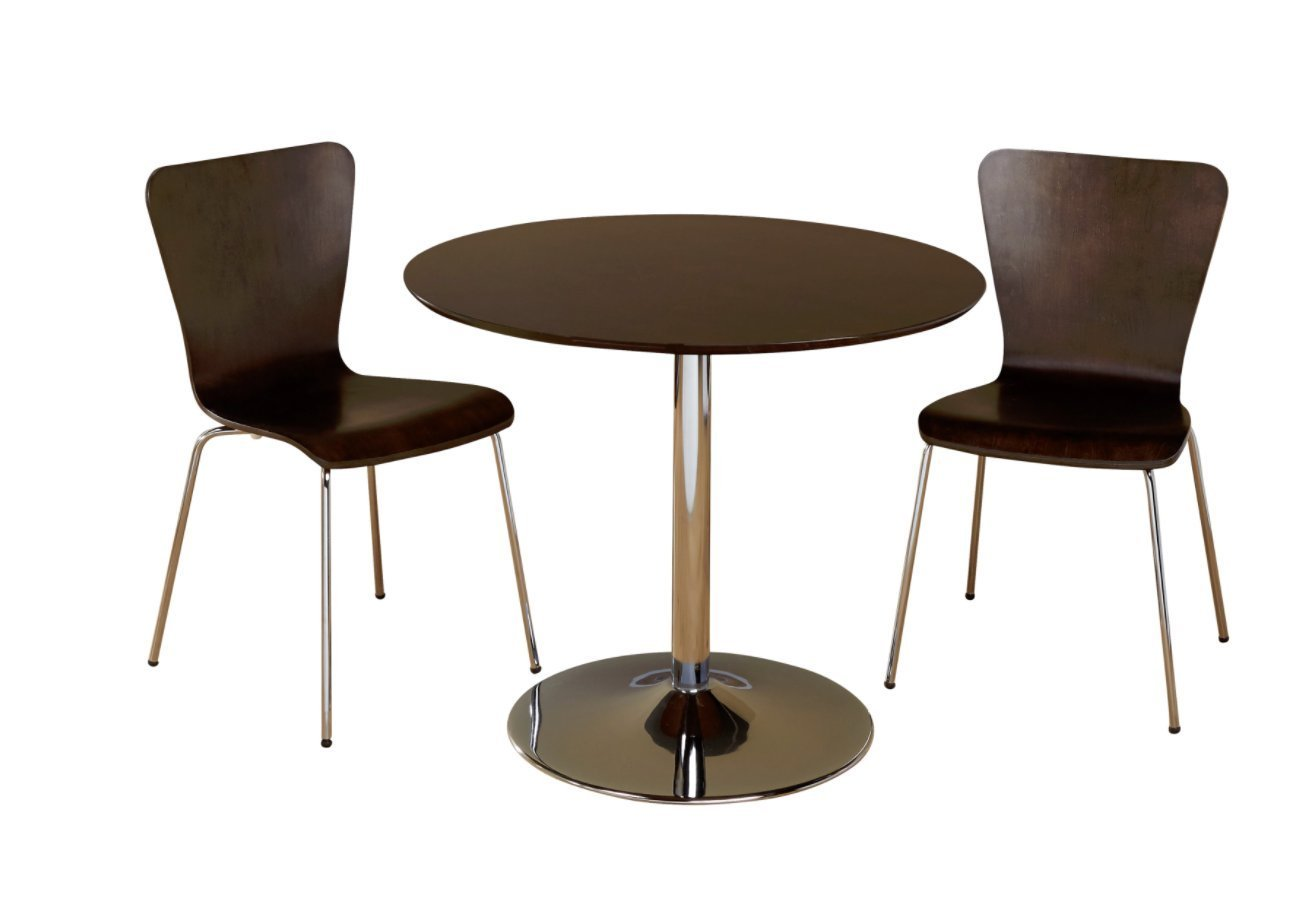 3 Piece Modern Dining Set With Brown Wood Finish & Chrome Pedestal Base Displays Elegant Contemporary Feel. Includes 1 Round Table 2 Stackable Chairs Great for Kitchen Small apartment dorm or loft