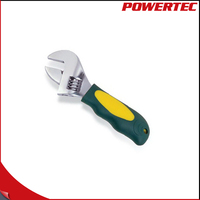 POWERTEC European Type Adjustable Wrench Stubby Wrench TPR Handle