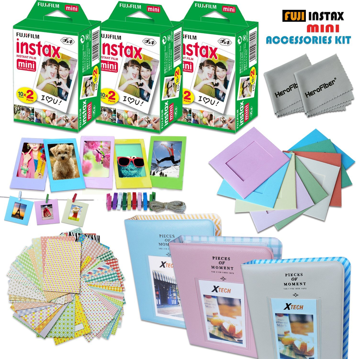 Xtech FujiFilm Instax Mini FILM Accessories Kit f/Fujifilm Instax Mini 70 Mini 8 8+ 7s 90 25 Includes: 3 x Fujifilm Instax Mini Twin Pack (60 Instant Films) 3 Albums + Assorted Frames/Stickers