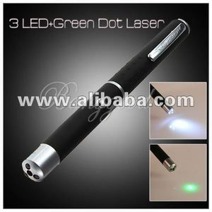 2 in 1 Torch Lamp 3 LED Flashlight Light + 5mW Green Ray Beam Laser Pointer Pen
