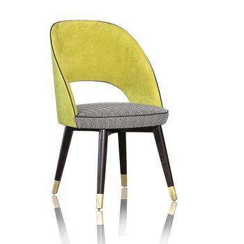 712 Contemporain De Luxe Sans Monture Dossier Rond Chaise Structure En Contreplaque Tissu Cuir